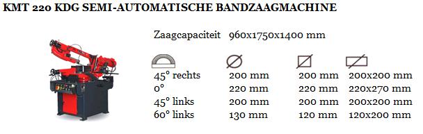 KMT 220 KDG SEMI-AUTOMATISCHE BANDZAAGMACHINE