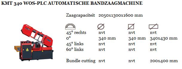 KMT 340 WOS-PLC AUTOMATISCHE BANDZAAGMACHINE