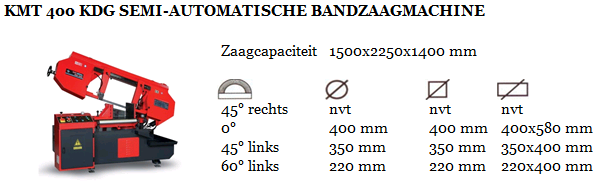 KMT 400 KDG SEMI-AUTOMATISCHE BANDZAAGMACHINE