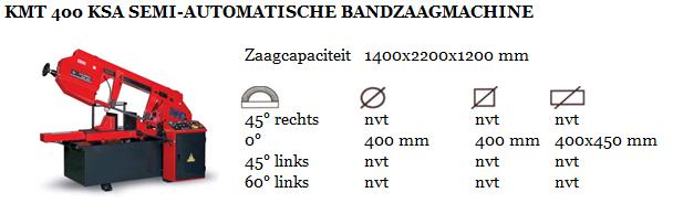 KMT 400 KSA SEMI-AUTOMATISCHE BANDZAAGMACHINE