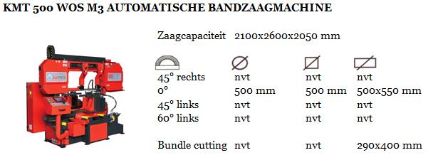 KMT 500 WOS M3 AUTOMATISCHE BANDZAAGMACHINE