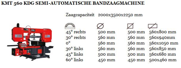 KMT 560 KDG SEMI-AUTOMATISCHE BANDZAAGMACHINE