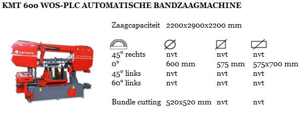 KMT 600 WOS-PLC AUTOMATISCHE BANDZAAGMACHINE