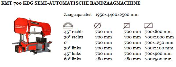 KMT 700 KDG SEMI-AUTOMATISCHE BANDZAAGMACHINE